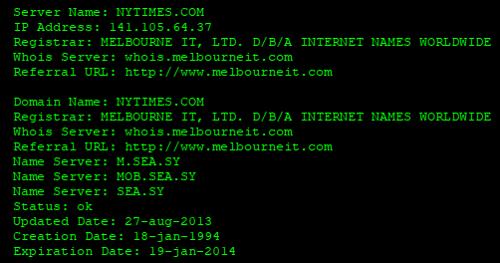 چک کردن DNS سایت نیویورک تایمز