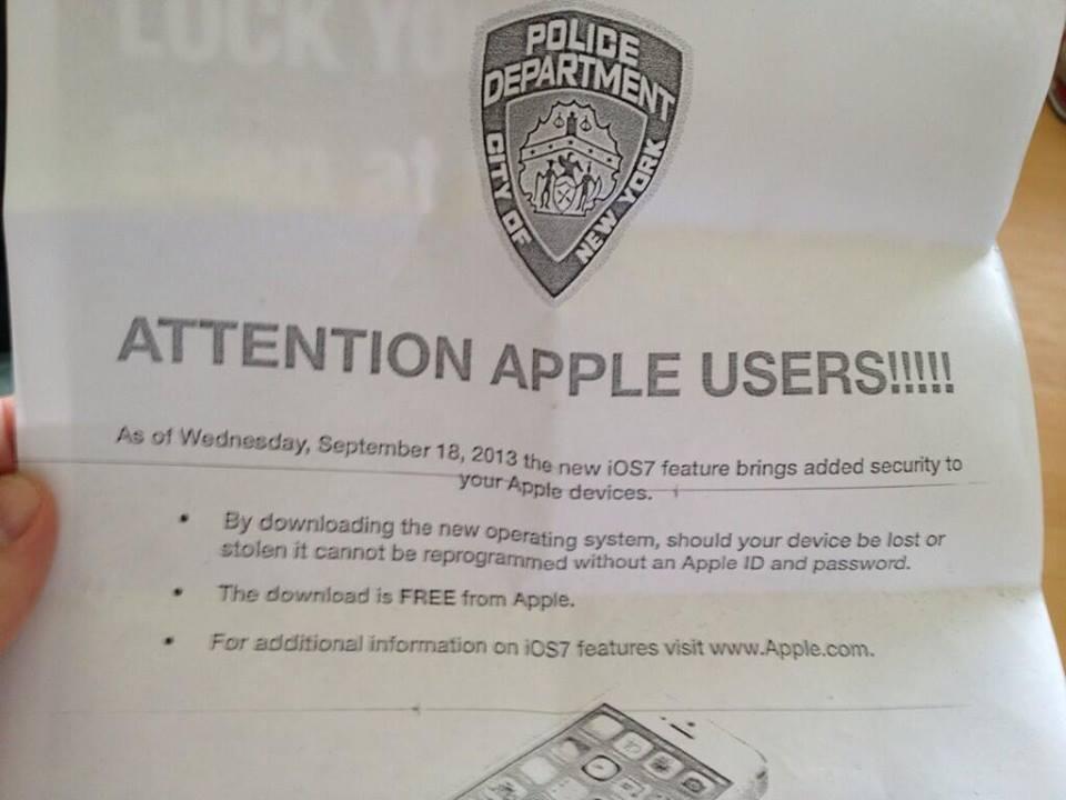 برگه تبلیغاتی پلیس نیویورک برای iOS7