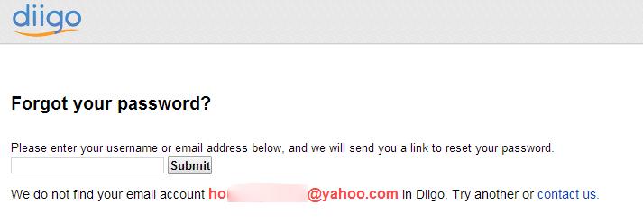 آدرس ایمیلی که در سایت وجود ندارد